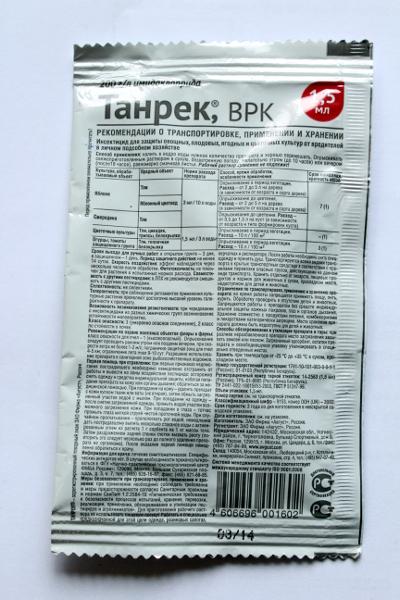 Танрек от колорадского жука: инструкция по применению, как разводить средство