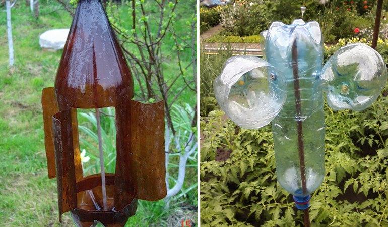 Трещетка из пластиковой бутылки для отпугивания кротов. как сделать вертушку от кротов своими руками.