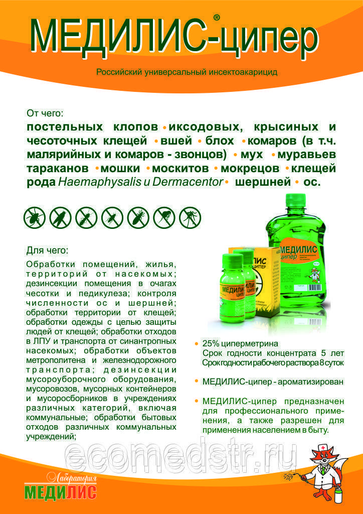Медилис ципер от тараканов: отзывы, инструкция, описание