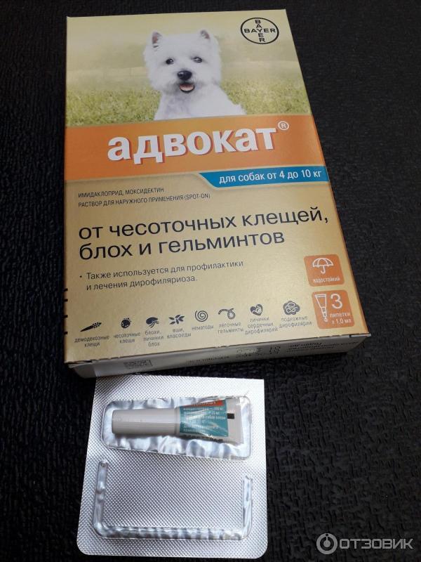 Капли адвокат от клещей, блох и гельминтов для собак весом до 4 кг - 3 пипетки