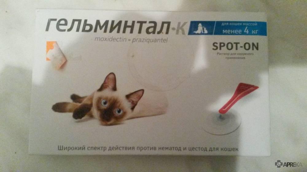 Капли на холку для кошек гельминтал спот-он