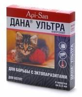 Дана спот-он капли на холку для щенков и собак до 20 кг 2х1,5 мл фипронил api-san